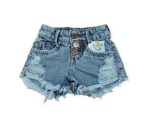 short  jeans moderninho rasgadinho mundo kids