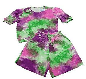 conjunto tie dye manguinha princesa