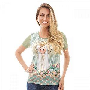 Camisa Feminina Nossa Senhorinha de Fátima (disponível G e GG)