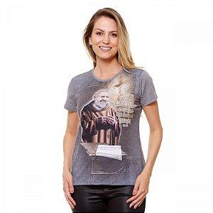 Camisa Feminina São Padre Pio (disponível G e GG)