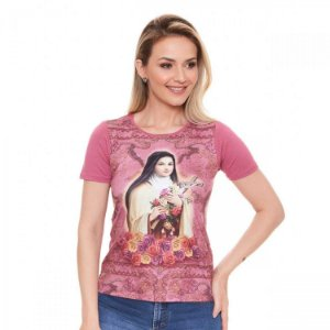 Camisa Baby Look Santa Teresinha (disponível G e GG)