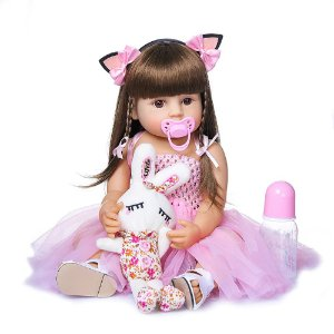 Boneca Reborn Bebê 100% Silicone Pode Tomar Banho Princesa Rosa 55cm
