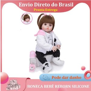 48cm Bebê Boneca Reborn 100% Silicone Panda Olho Castanho Pode Tomar Banho