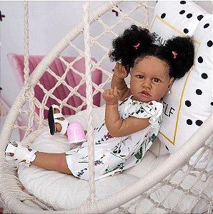 57cm bebê boneca reborn menina silicone corpo encaracolado cabelo de fibra com saia floral