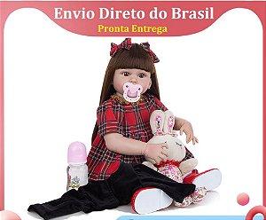 Bebê Reborn Boneca Menina 60cm Grande Realista Cabelo Longo Linda Princesa Vestido Corpo Silicone Pode Tomar Banho