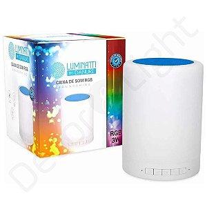 Caixa De Som Bluetooth Abajur Led Touch Luminária Multicolor