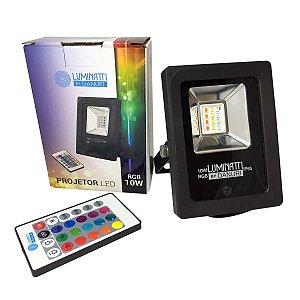 Projetor Refletor Led RGB Externo 10W Controle Remoto