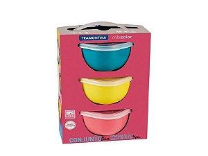 Conjunto de Potes Mix Color 3 Peças 600ml Tramontina