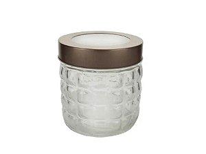 Pote vidro borossilicato com tampa cobre 840ml