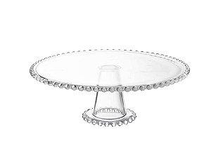 Prato em Cristal de Chumbo para Bolo com Pé Pearl 31cmX11cm Rojemac