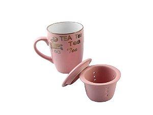 Caneca em Cerâmica com Infusor e com tampa Rosa 350ml Rojemac