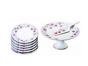 Jogo com 8 Peças em Porcelana para Bolo Ivone Schmidt