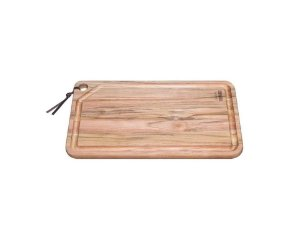 Tábua em madeira Teca Retangular com Couro 40cmx24cm Tramontina