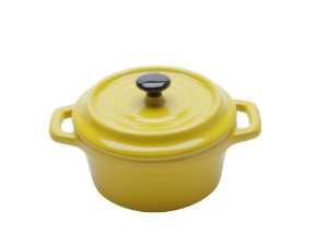 Mini Caçarola em Porcelana Black Lid Amarelo 13cm 150ml Bon Gourmet