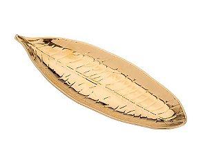 Folha em Cerâmica Dourada 32cm Rojemac
