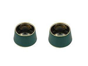 Conjunto com 2 Vasos Decorativos em Cerâmica Verde 9cm Rojemac