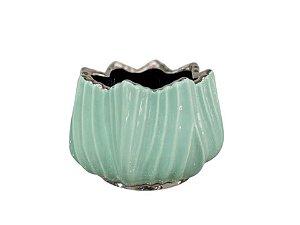 Vaso em Cerâmica Verde com metalizado 15cm Rojemac