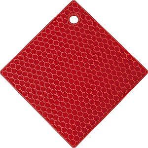 Descanso Panela Silicone Vermelho Quadrado 17,5 cm