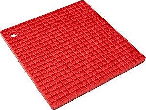 Descanso Panela Silicone Vermelho Quadrado 18 cm