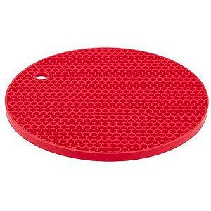 Descanso Panela Redondo Silicone Vermelho 20cm