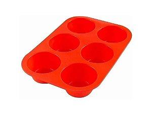 Forma de Silicone para Cupcakes vermelha com 6 cavidade