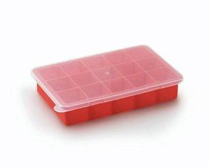 Forma de Silicone para gelo com tampa de plástico com 15 cavidades