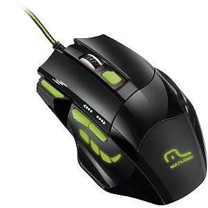 Mouse Gamer Multilaser 2400DPI 7 Botões Preto e Verde.