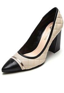 Sapato Couro Matelassê Preto com Nude Capodarte