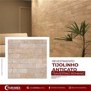 Revertimento Tijolinho em Travertino Romano - 20,3cm x 7,5cm