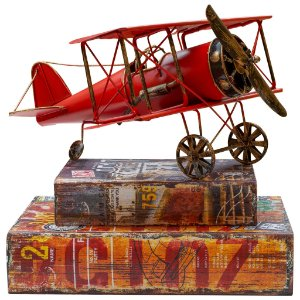 Avião vermelho metal - 14 x 30 cm