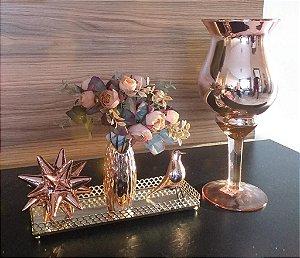 Vaso espelhado rose gold Napoli 34,5 cm