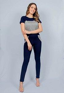 Conjunto Calça e Blusa Maria Paes Azul Marinho e Mescla
