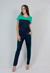 Conjunto Calça e Blusa Maria Paes  Azul Marinho e Verde