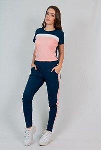 Conjunto Calça e Blusa Maria Paes  Azul Marinho Rosa e Branco