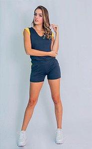 Conjunto Shorts e Blusa Maria Paes Chumbo e Amarelo