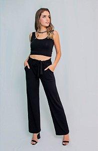 Calça Pantalona Maria Paes com Bolso e Cinto Preto