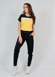 Conjunto Calça e Blusa Maria Paes Preto, Amarelo e Branco