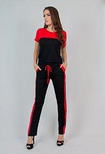 Conjunto Calça e Blusa Maria Paes Vermelho e Preto