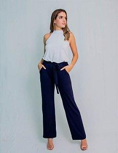 Calça Pantalona Maria Paes com Bolso e Cinto Azul Marinho