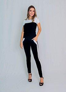 Conjunto Calça e Blusa Maria Paes Branco e Preto