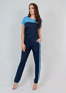 Conjunto  Calça e Blusa Maria Paes Azul Marinho e Azul