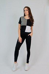 Conjunto Calça e Blusa Maria Paes Preto, Branco e Mescla