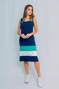 Vestido Midi Maria Paes  Listrado Azul Marinho, Verde e Branco