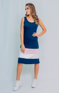 Vestido Midi Maria Paes  Listrado Azul Marinho, Salmão e Branco
