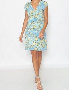 Vestido Estampado  Maria Paes  Azul