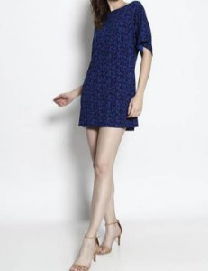 Vestido Curto Estampado Maria Paes Azul