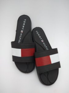 Chinelo Masculino Slide em Napa Preto, Vermelho e Branco