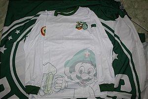 Camiseta Manga Longa Masculina branca com mascote