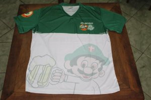 Camiseta Feminina Verde e Branca com mascote