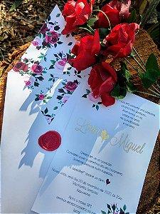 Convite de Casamento Floral Livia e Miguel
